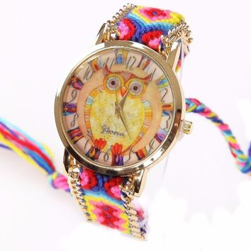 Gnova Platinum Rainbow Watch Women ethnic fashion owl wristwatch hippie Lace Chain Braided Reloj Girl Vintage Geneva Style A011