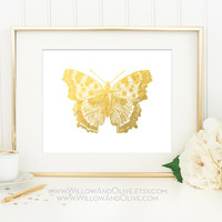 BUTTERFLY 1 Faux Gold Foil Art Print