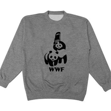 wwf sweater Gray Sweatshirt Crewneck Men or Women for Unisex Size with variant colour