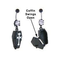 Emo Goth Vampire Black Opening Coffin Dangle Belly button Navel Ring 14 gauge
