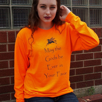 May The Gods Be Ever In Your Favor Long Sleeve T-Shirt. Percy Jackson Inspired Shirt.