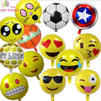 5 pcs /set emoji balloon 18 inch foil balloon hot bubble balloons party decoration home 30 type