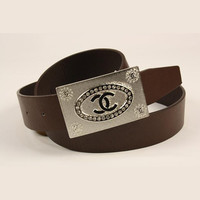 Perfect CHANEL Woman Fashion Smooth Buckle Belt Leather Belt