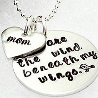 Hand Stamped Necklace - You Are The Wing Beneath My Wings - Mother Necklace - Couples Necklace