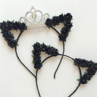 Black Flower cat ears headband, floral cat ears, cat ears, flower cat ears, Ariana Grande, edc, festival, cat ears, coachella, rave