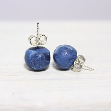 small blue pearl earrings, stud earrings, polymer clay earrings, nickel free jewelry