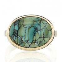Jamie Joseph | Oval Silver and Gold Turquoise Ring at Voiage Jewelry
