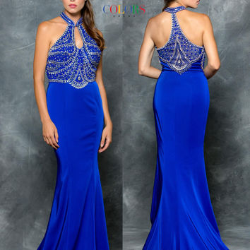 Colors 1604 Beaded Halter Top w/Chest Keyhole Cutout Prom Evening Dress
