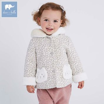 DB6110 dave bella autumn winter infant baby girls fashion Jackets toddler Hooded outerwear children cute hight quality clothes