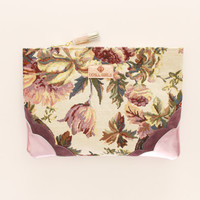 GRACE 8  / Tapestry & Leather clutch - Ready to Ship