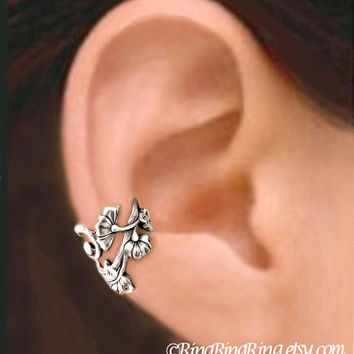 Art Nouveau Small Ear Cuffs, Sterling Silver Earring, Floral earrings, Earcuff Clip Jewelry, Left, Right, Pair
