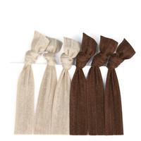 Beige & Brown Elastic Hair Ties (6) Neutral Hair Accessories - Exercise Hair Ties - FOE Hair Elastics - Yoga Hair Accessories