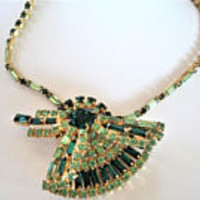 Green Rhinestone Necklace. Two Tone Green, Emerald Shaped Stones, Fan Pendant Necklace