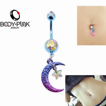BODY PUNK Summer Bikini Belly Button Rings Rainbow Moon and Star CZ Navel Piercing  Ring in Body Jewelry Ombligo/Nombril