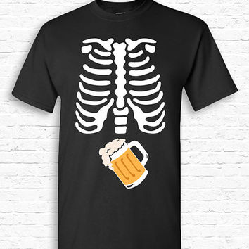 Skeleton Ribcage BEER Xray Halloween T-shirt Tshirt Tee Shirt Pregnant Pregnancy Funny Cute Booze Pint Dad Father Couples Costume TF-164