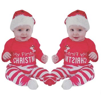 Casual Newborn Baby Girls MY First Christmas Romper Bodysuit +Stripe Pants 2Pcs Outfits deer striped