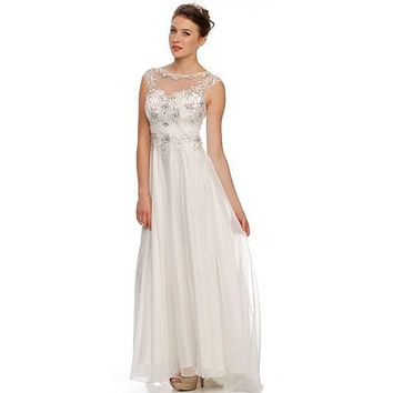 Jewel Neckline Studded Bodice A Line Off White Red Carpet Gown