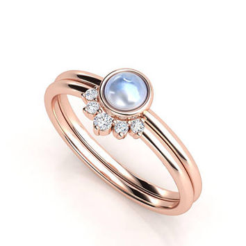 Moonstone ring. Diamond ring. Stack rings. Moonstone and diamond ring. Rose gold ring. Moonstone engagement ring.