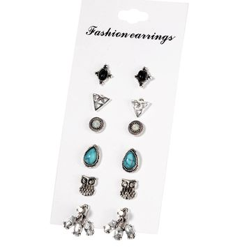 17KM Punk Style Triangle Ball Owl Stud Earrings For Women 2017 Vintage Unicorn Water Drop Crystal Heart Earring Set 6 Pairs/Set Bohemia