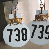 Vintage Cow Tag Earrings