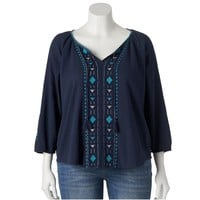 SONOMA life + style Embroidered Gauze Peasant Top - Women's Plus