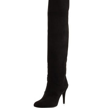 Scrunchy Suede Knee Boot, Black - Stuart Weitzman - Black