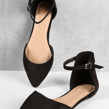 Pointed Toe Ankle Strap Dorsay Flats