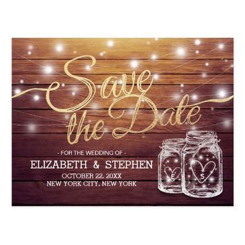 Save The Date Rustic Wood Mason Jar String Lights Postcard