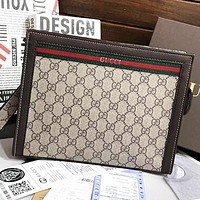 GUCCI New Fashion Stripe More Letter Print Leather Cosmetic Bag File Package Khaki