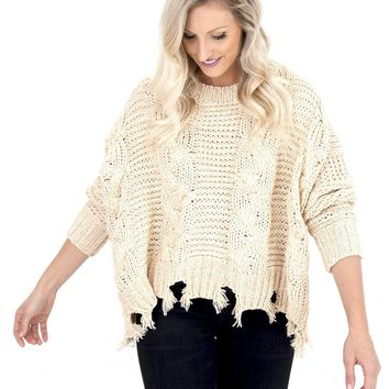Women's Cable Knit Sweater with Distressed Hem