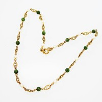 Art Deco Era Choker Necklace Pearl & Jade Beads w/ Decorative Oval Gold Filled Chain Links 1/20th 12K GF BB Binder Bros Vintage 1930s 1940s