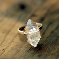 Herkimer Diamond Ring  Custom Stone Sizing Rivet Metal by lumafina