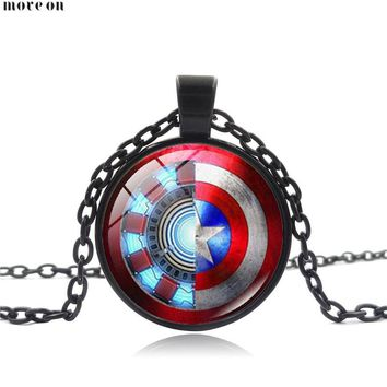 10 PCS Statement  Ironman US Captain Necklace Pendant Time Precious Stone jewelry Charm Choker Memorial Gift For Friend Women