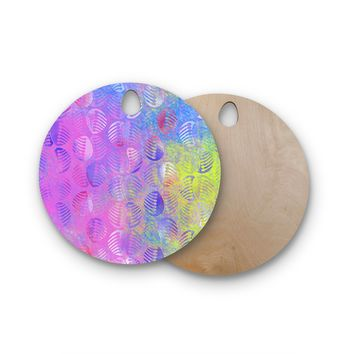 """Dan Sekanwagi """"Poddy Combs - Subtle Pastels"""" Pink Multicolor Round Wooden Cutting Board"""