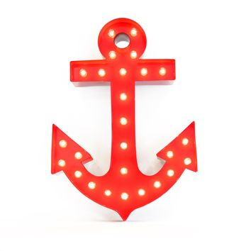 Anchor Vintage Marquee Lights Sign (Red Finish)