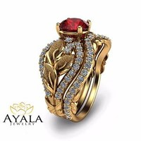 Unique Bridal Set 14K Yellow Gold Ruby Engagement Ring
