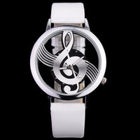 Fashion Round Disc Hollow Musci Notes Watch Women's Watches Novelty Men's Mucical Note Dial Wristwatch Quartz Watches #sclm wish store# [7789104647]
