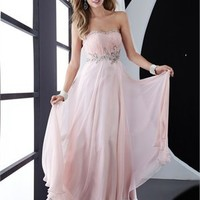 Strapless Column open back pink Long with Applique Prom Dress PD0815