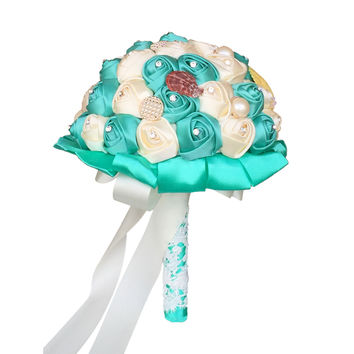 Large Fabric Bouquet: Ivory with Jade Seashell docrations