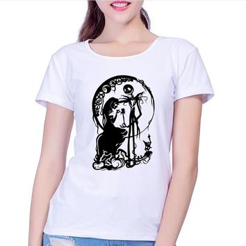 Summer Cool Corpse Bride T Shirts Women's Gothic Nightmare Before Christmas T Shirts Crewneck Top Tees Femme Camisetas Asian Siz