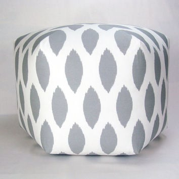 "25"" Floor Ottoman Pouf Pillow Storm Gray & White - Chipper Ikat Contemporary Modern Print"
