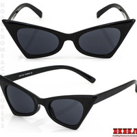 NEW Classic Retro Vintage Cat Eye Style Sun Glasses Small Black Fashion Frame