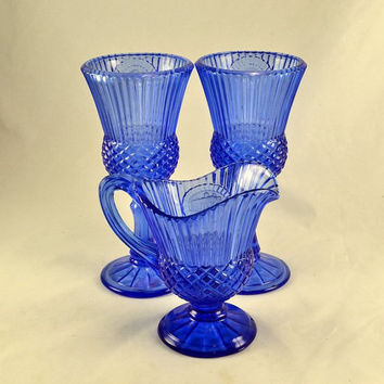 Blue Glass Fostoria for Avon 2 Goblets 1 Pitcher - Candle Holders George & Martha Washington - Mount Vernon - Vintage 1970s