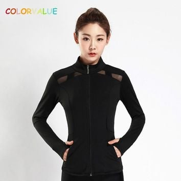 Colorvalue Patchwork Mesh Dance Fitness Jacket Women Full Zipper Running Coat Quick Dry Slim Gym Sport Jersey with Zipper Pocket