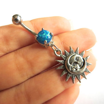 Opal Sun Belly Button Ring Jewelry Faux Opal Sun and Moon Celestial Bellyring Jewelry Charm Dangle Navel Piercing Blue Pink White Purple
