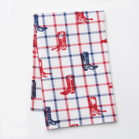 Celebrate Local Life Together Plaid Boots Kitchen Towel