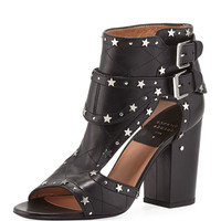 Laurence Dacade Rush Star-Studded Leather Sandal, Black