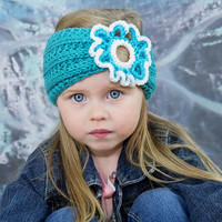 Girls turban in teal, children turban, kids headband, 3T headband, cute floral turban, toddler hairband, tots accessory, infant turban