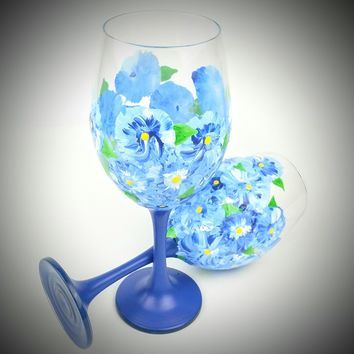 2 Blue Flower stemmed Wine Glasses, Hand Painted wine glass, blue wine glasses, summer wine glasses, hand painted wine glasses