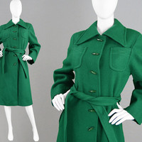 Vintage 60s Mod Coat Green Wool Coat HARELLA Coat Winter Coat A Line Coat Toggle Fastenings Chic 1960s Coat Fitted Coat Smart Coat Sixties